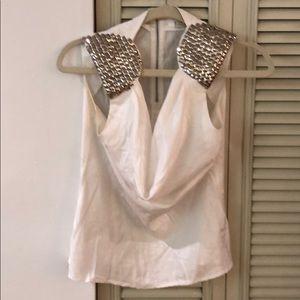 Aryn K Silk Top with Embellished Sleeves